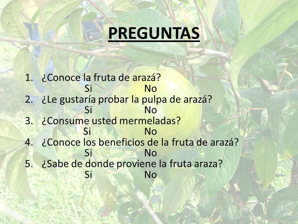 PREGUNTAS ¿Conoce la fruta de arazá Si No