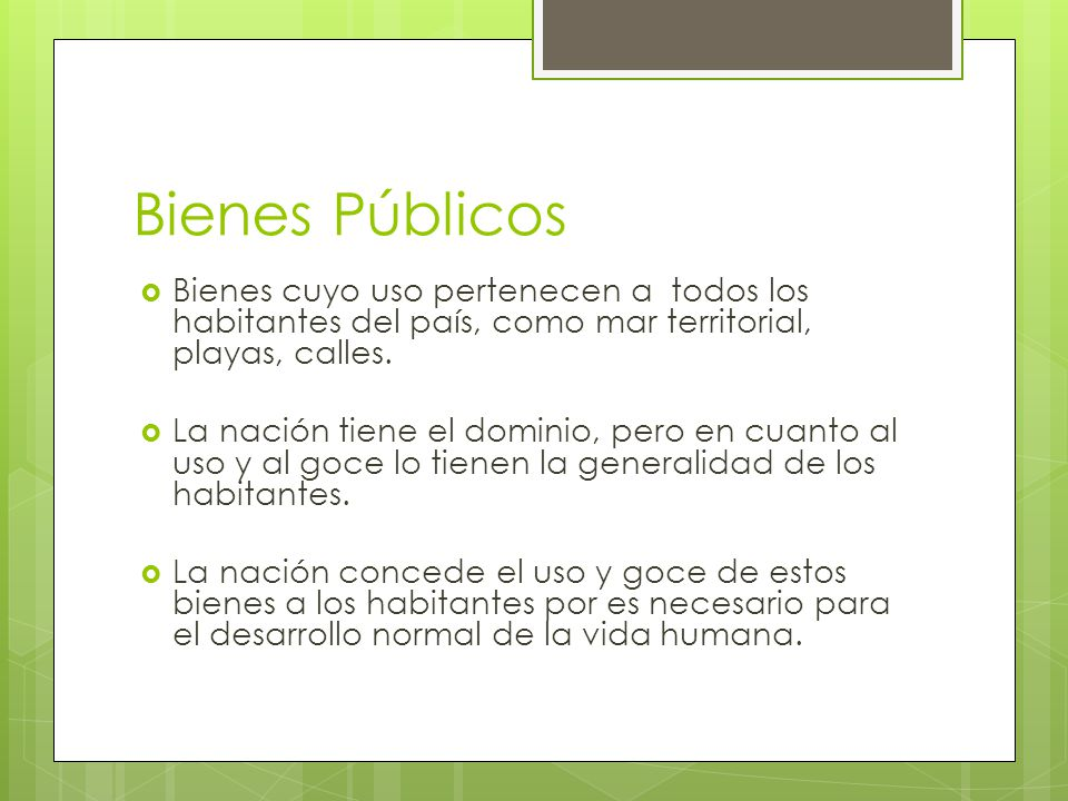 Bienes Públicos Bienes cuyo uso pertenecen a todos los habitantes del país, como mar territorial, playas, calles.