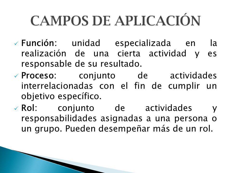 CAMPOS DE APLICACIÓN Función: unidad especializada en la realización de una cierta actividad y es responsable de su resultado.
