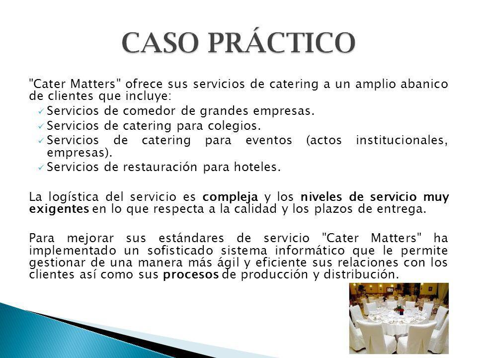 CASO PRÁCTICO Cater Matters ofrece sus servicios de catering a un amplio abanico de clientes que incluye:
