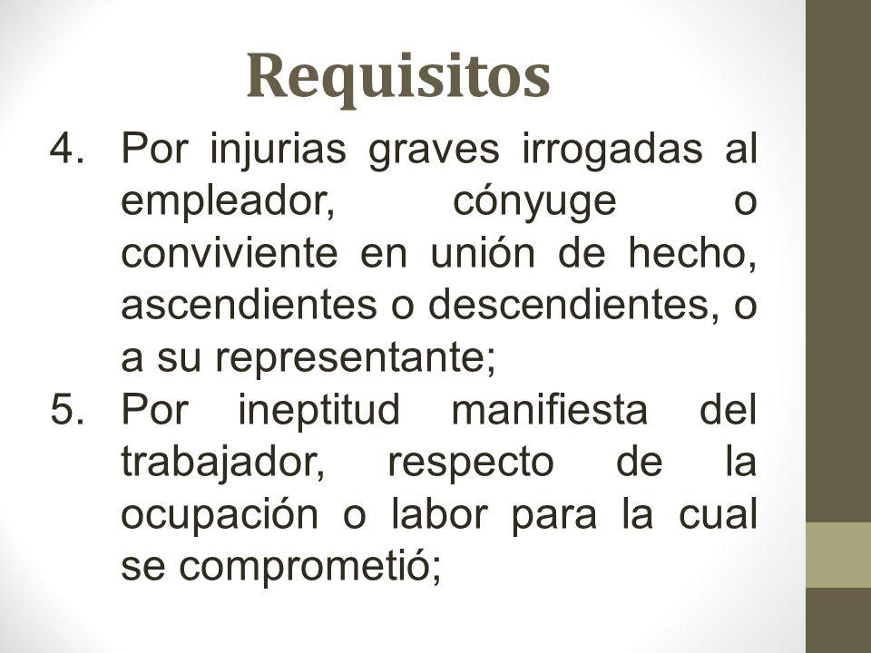 Requisitos Por injurias graves irrogadas al empleador, cónyuge o conviviente en unión de hecho, ascendientes o descendientes, o a su representante;