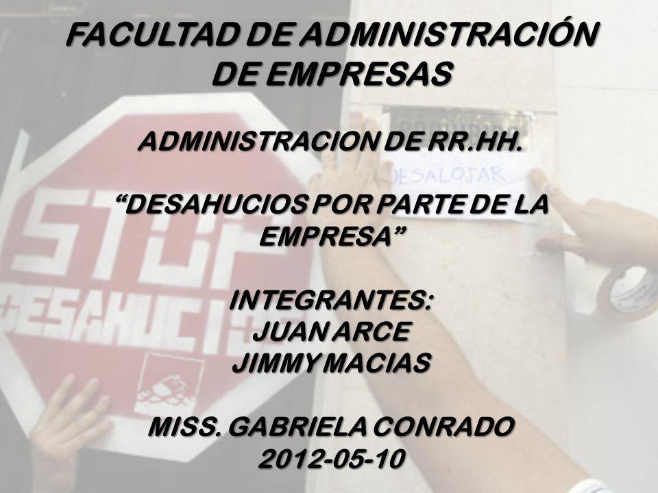 FACULTAD DE ADMINISTRACIÓN DE EMPRESAS ADMINISTRACION DE RR. HH