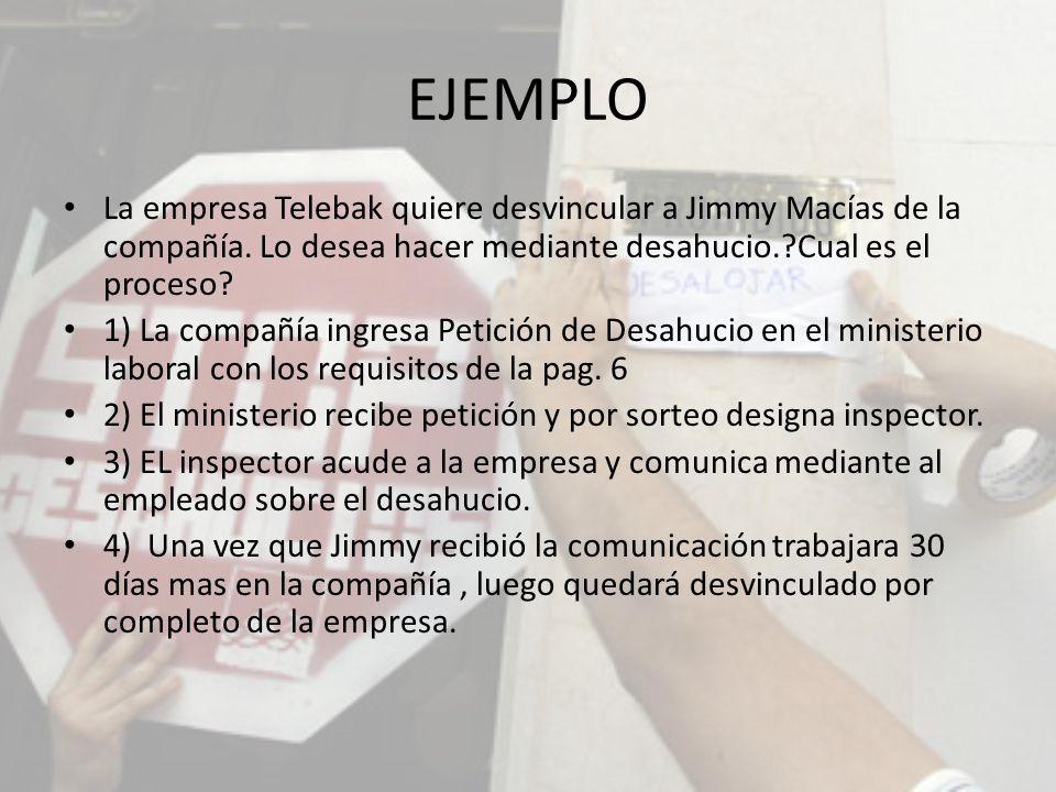 EJEMPLO La empresa Telebak quiere desvincular a Jimmy Macías de la compañía. Lo desea hacer mediante desahucio. Cual es el proceso