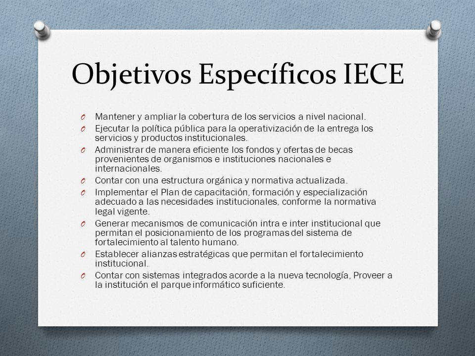 Objetivos Específicos IECE