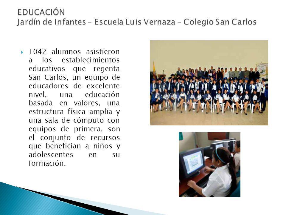 EDUCACIÓN Jardín de Infantes – Escuela Luis Vernaza – Colegio San Carlos