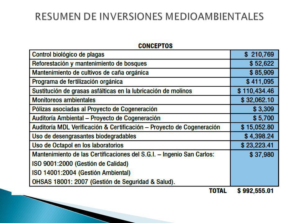 RESUMEN DE INVERSIONES MEDIOAMBIENTALES