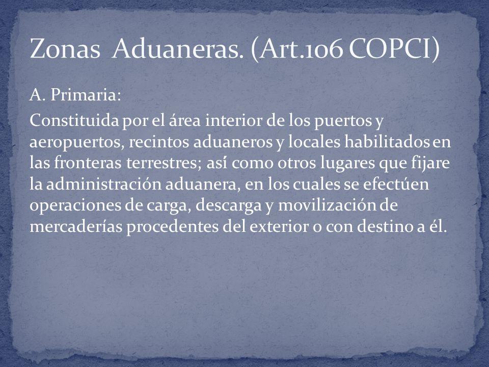 Zonas Aduaneras. (Art.106 COPCI)