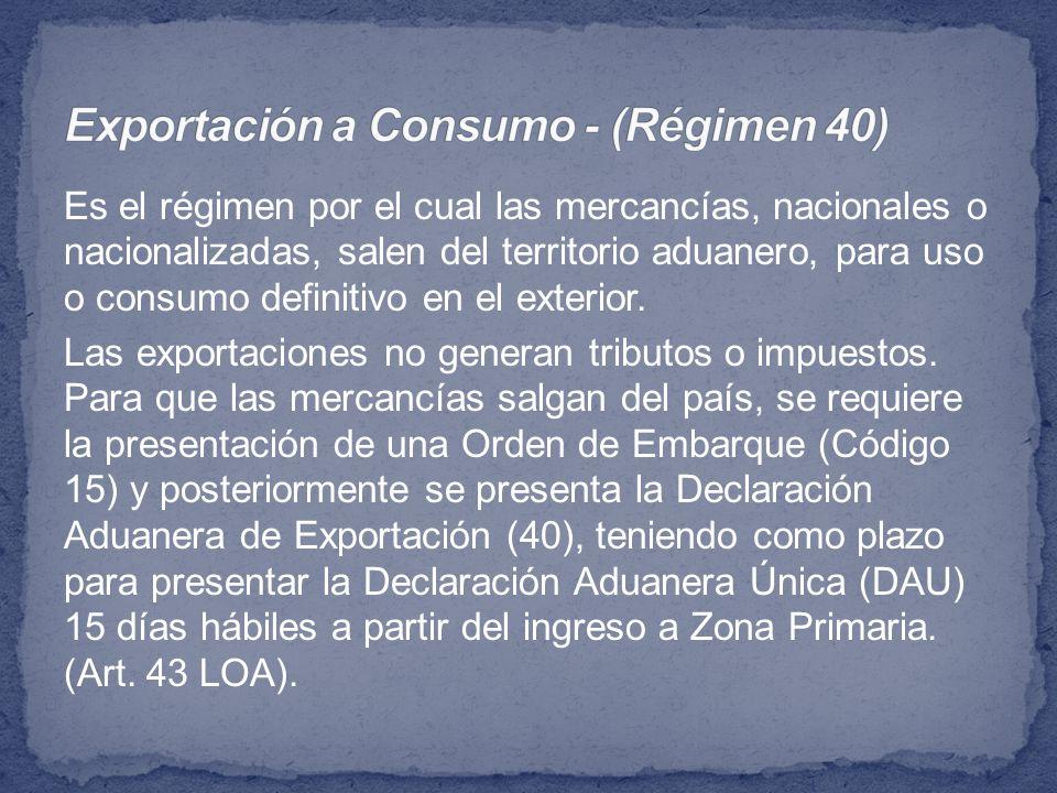 Exportación a Consumo - (Régimen 40)