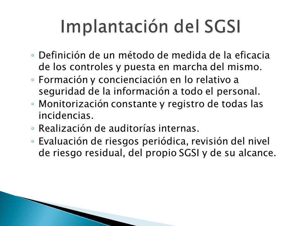 Implantación del SGSI Definición de un método de medida de la eficacia de los controles y puesta en marcha del mismo.