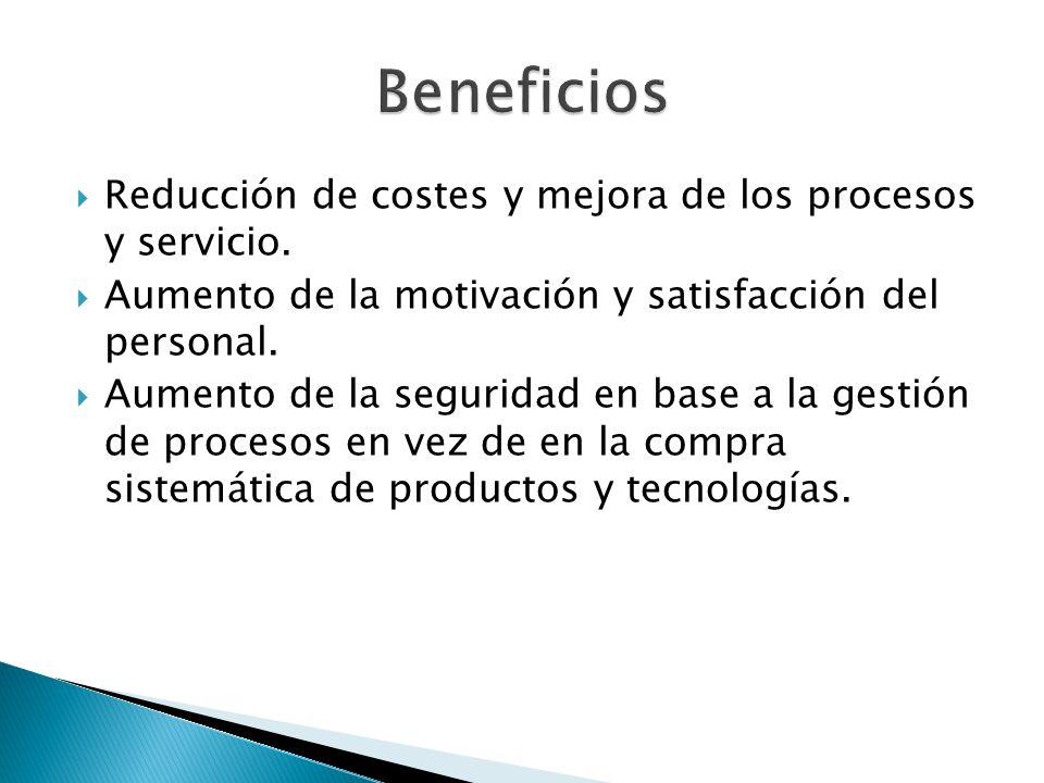 Beneficios Reducción de costes y mejora de los procesos y servicio.