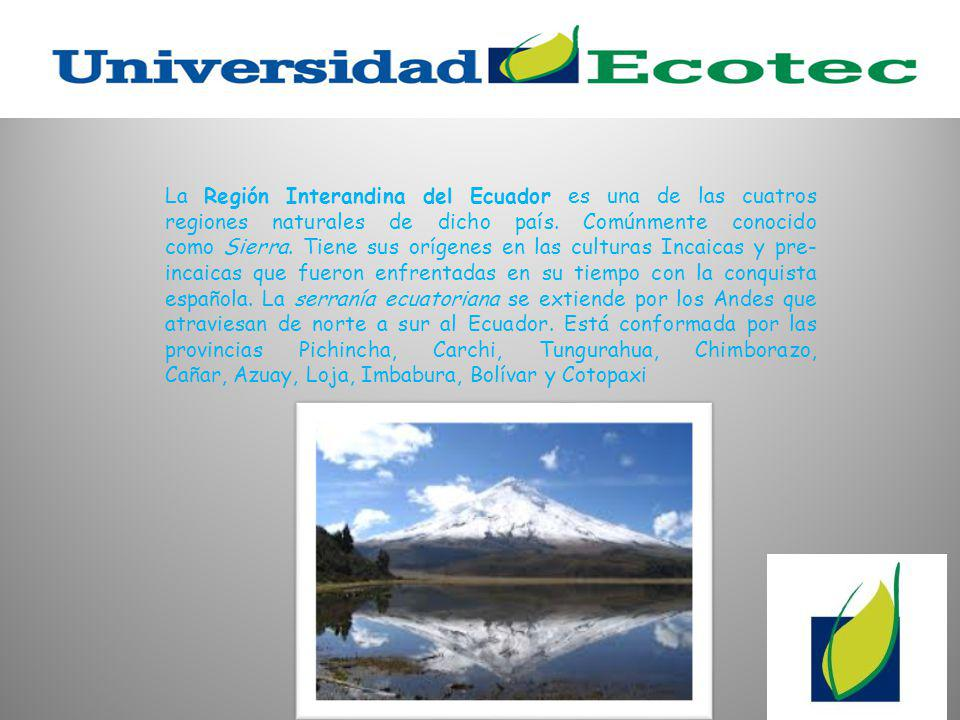 La Región Interandina del Ecuador es una de las cuatros regiones naturales de dicho país.