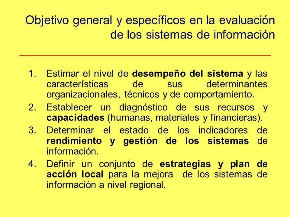 Objetivo general y específicos en la evaluación de los sistemas de información
