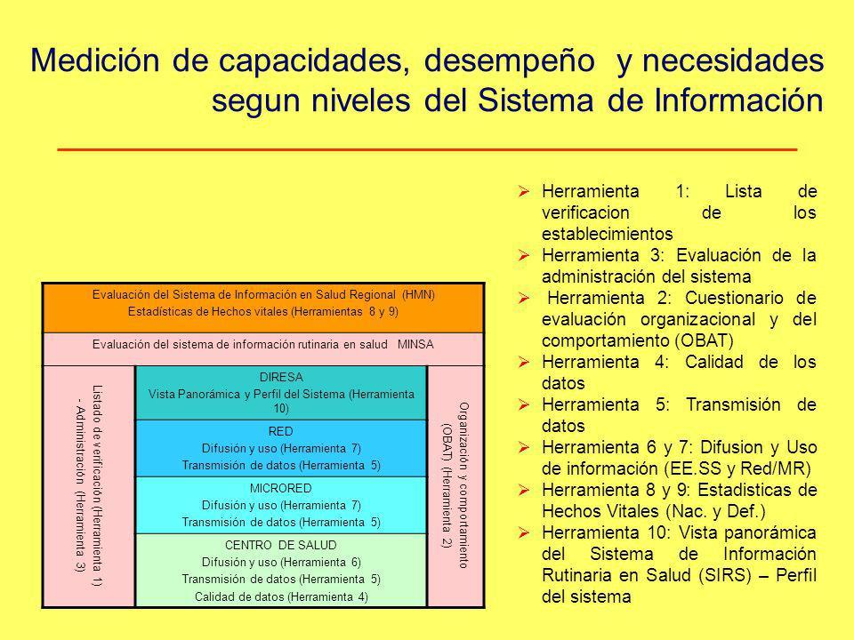 Medición de capacidades, desempeño y necesidades segun niveles del Sistema de Información