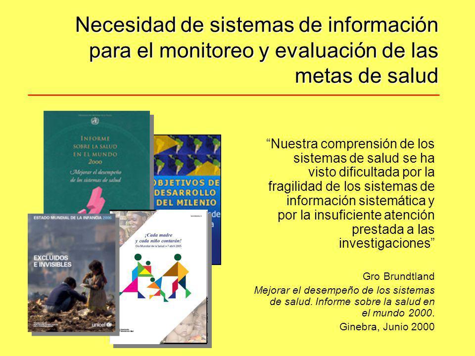 Necesidad de sistemas de información para el monitoreo y evaluación de las metas de salud