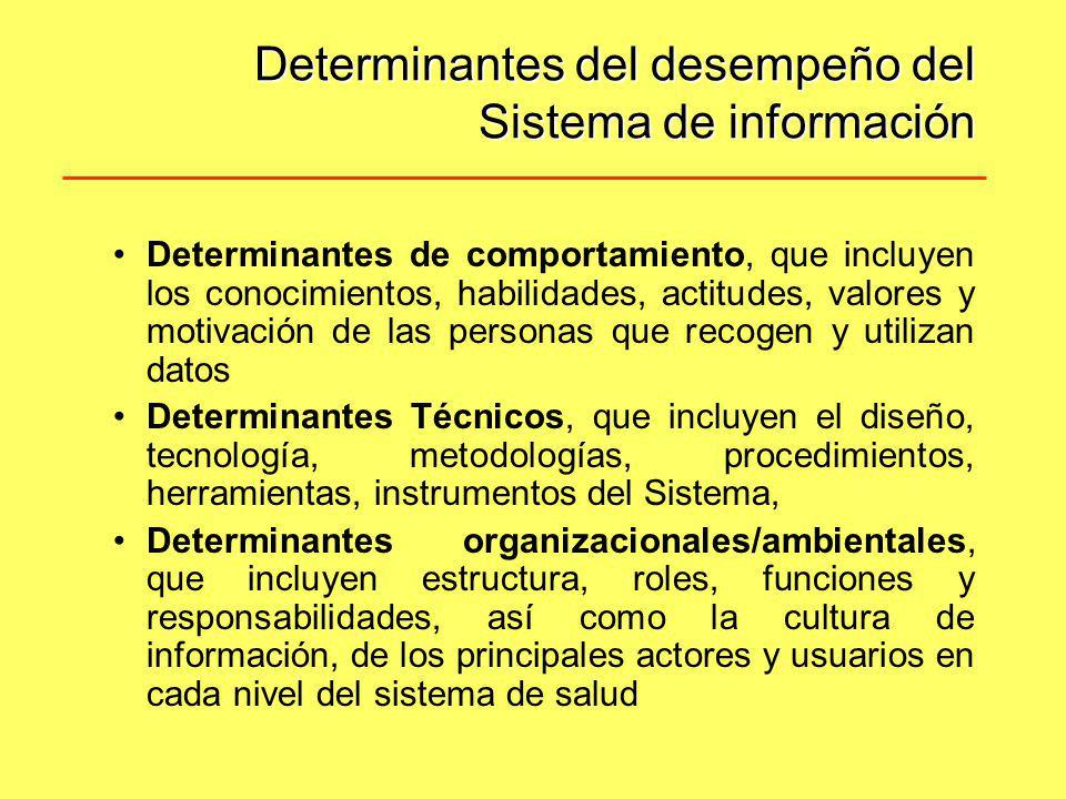 Determinantes del desempeño del Sistema de información