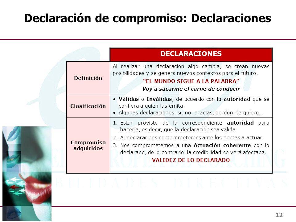 Declaración de compromiso: Declaraciones