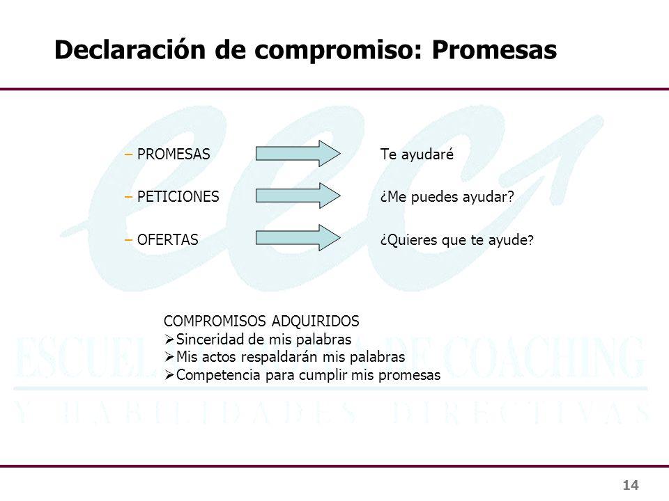 Declaración de compromiso: Promesas