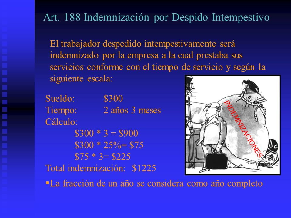 Art. 188 Indemnización por Despido Intempestivo