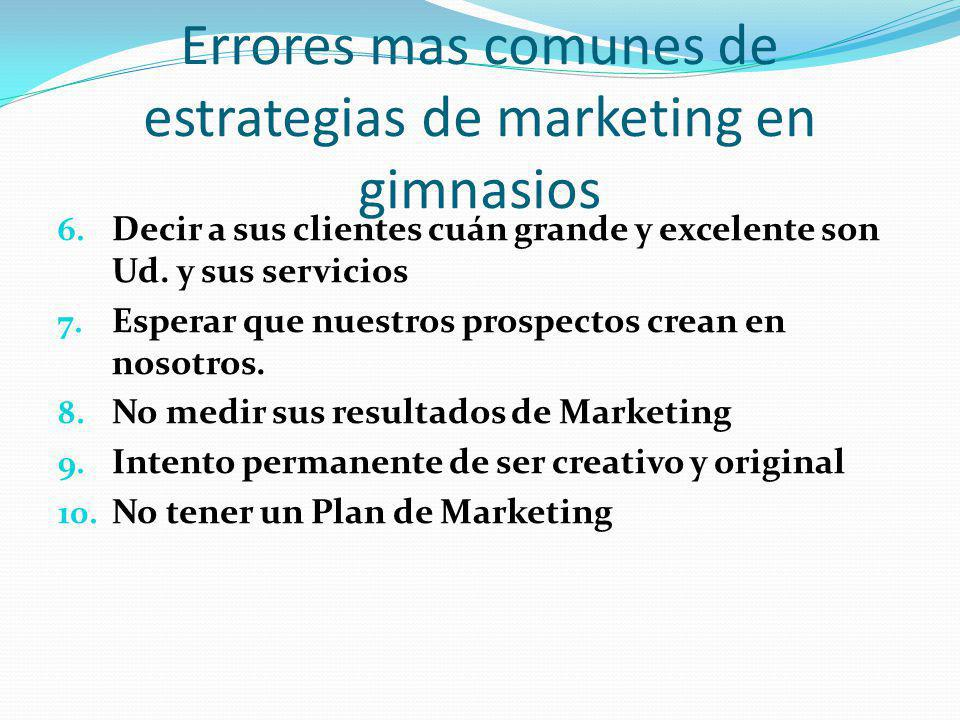 Errores mas comunes de estrategias de marketing en gimnasios
