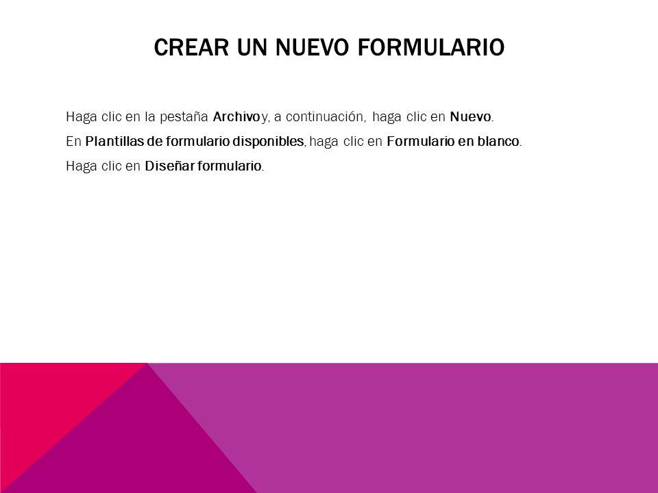 Crear un nuevo formulario