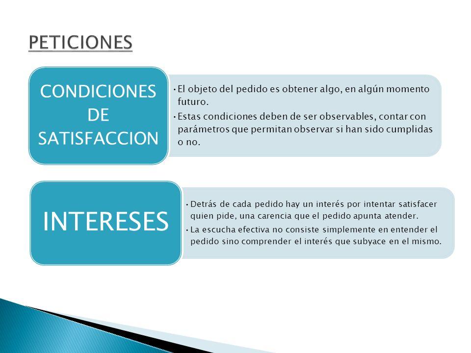 CONDICIONES DE SATISFACCION