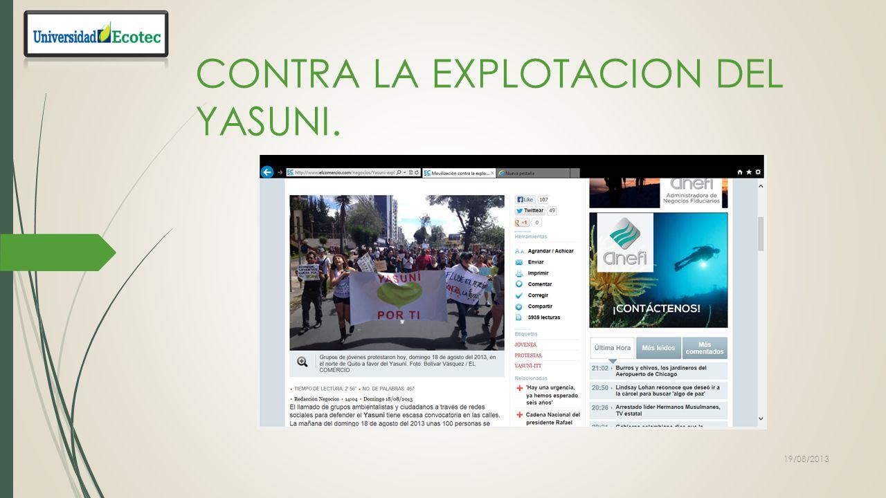 CONTRA LA EXPLOTACION DEL YASUNI.