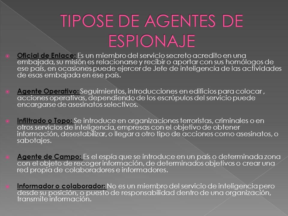 TIPOSE DE AGENTES DE ESPIONAJE