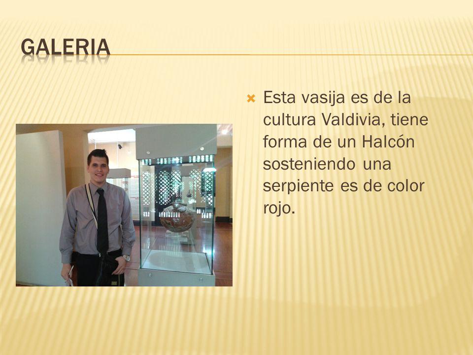 GALERIA Esta vasija es de la cultura Valdivia, tiene forma de un Halcón sosteniendo una serpiente es de color rojo.