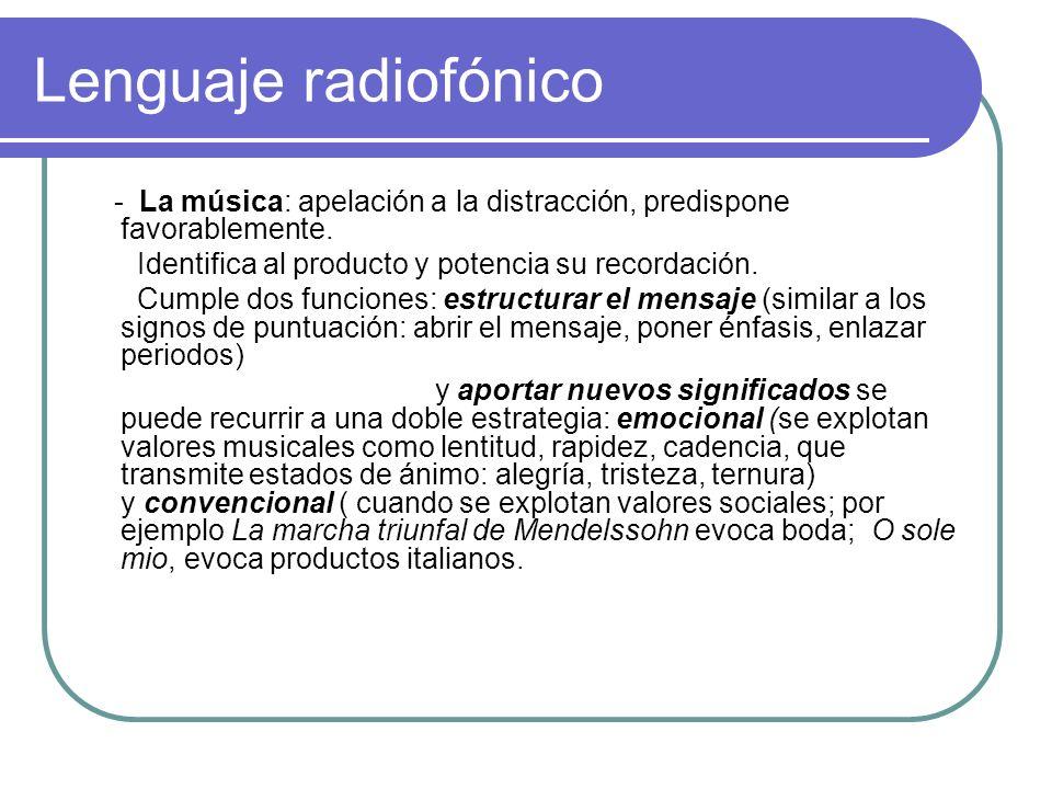 Lenguaje radiofónico- La música: apelación a la distracción, predispone favorablemente. Identifica al producto y potencia su recordación.