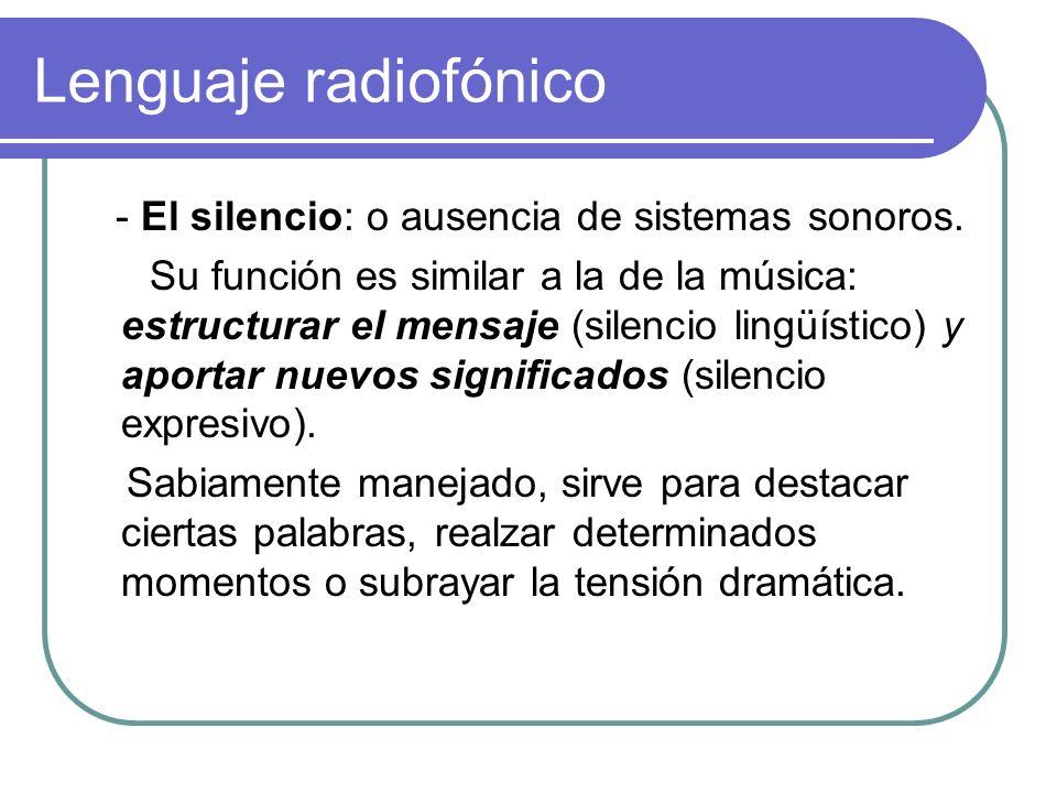 Lenguaje radiofónico - El silencio: o ausencia de sistemas sonoros.