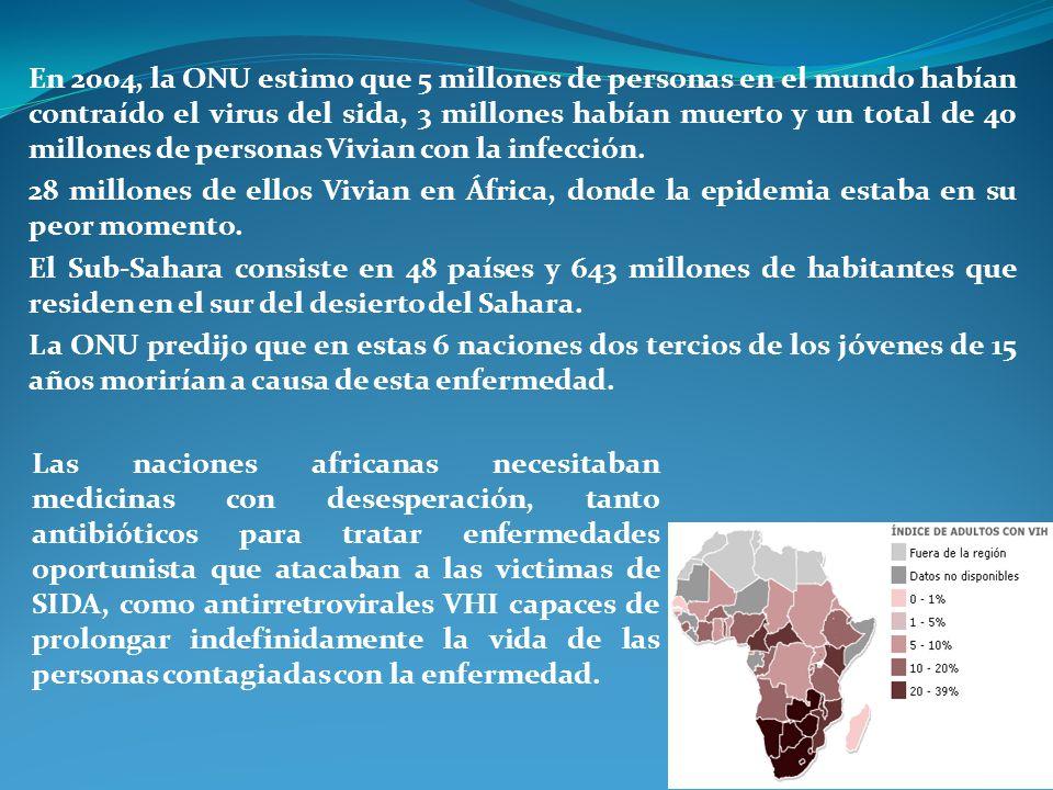 En 2004, la ONU estimo que 5 millones de personas en el mundo habían contraído el virus del sida, 3 millones habían muerto y un total de 40 millones de personas Vivian con la infección.