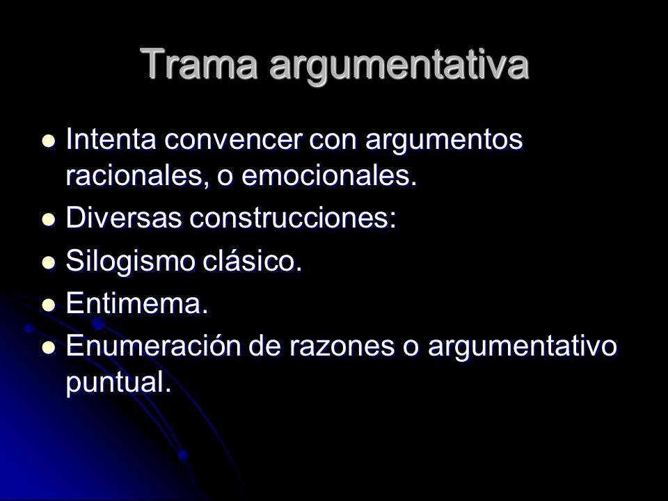 Trama argumentativa Intenta convencer con argumentos racionales, o emocionales. Diversas construcciones: