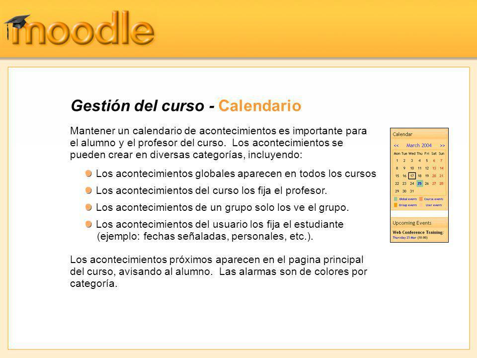 Gestión del curso - Calendario