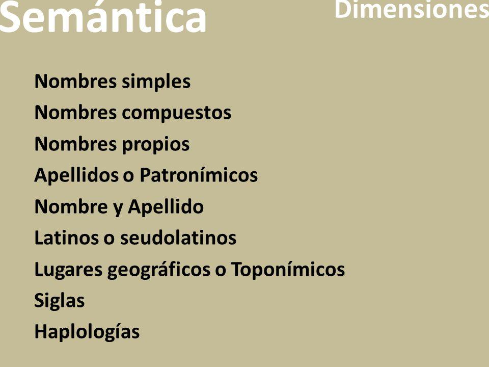 Semántica Dimensiones Nombres simples Nombres compuestos