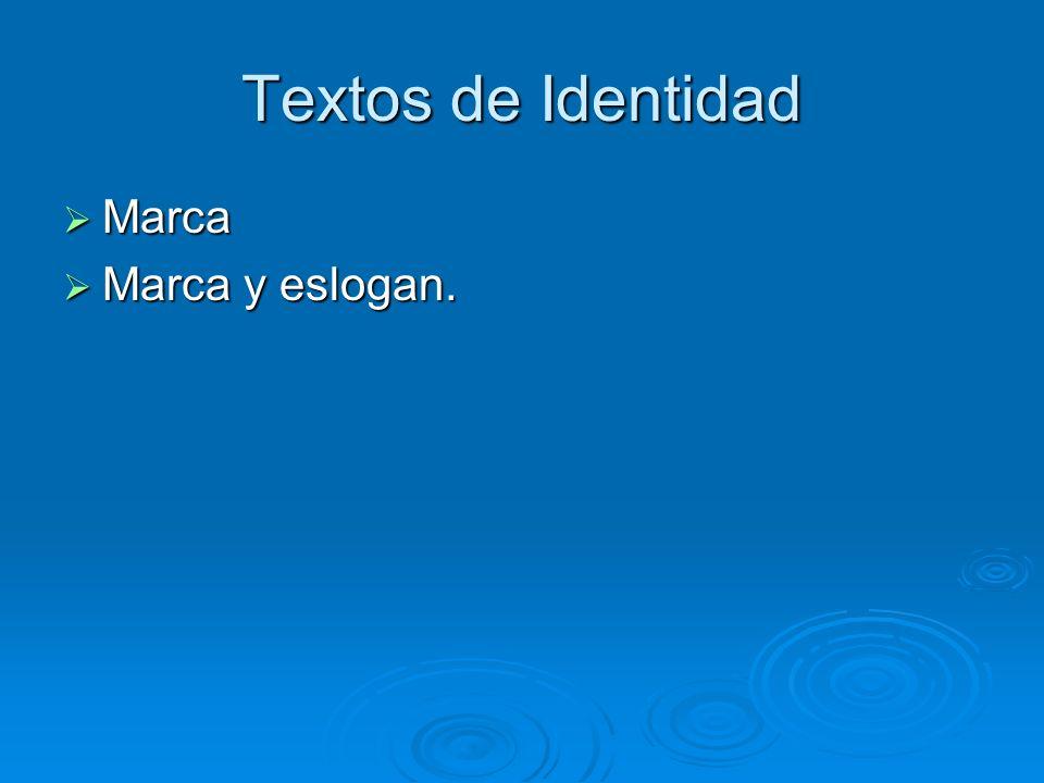 Textos de Identidad Marca Marca y eslogan.