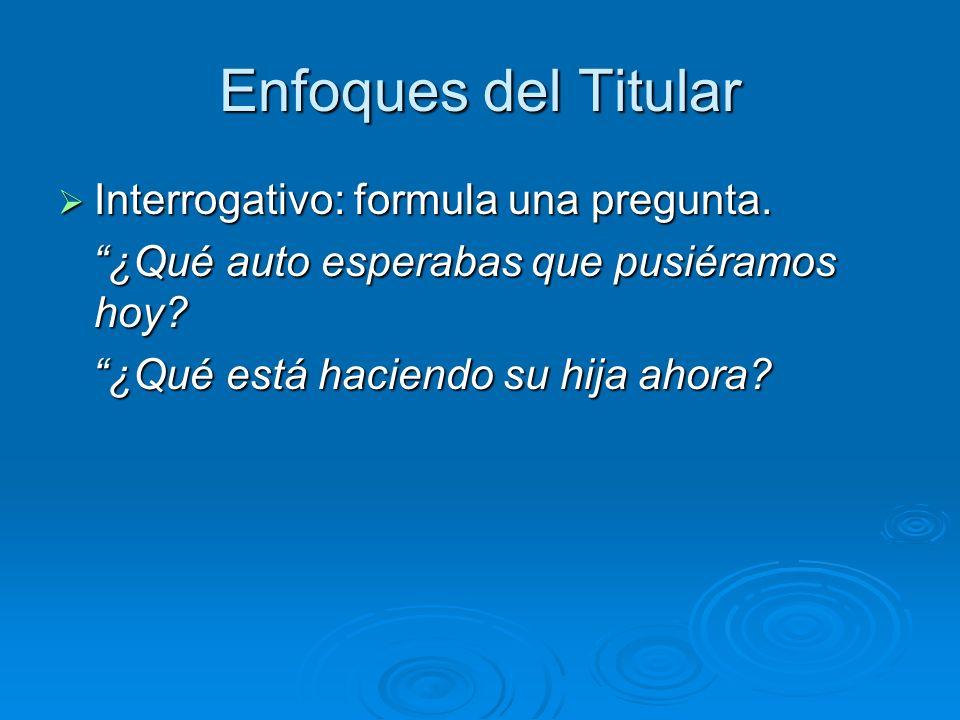 Enfoques del Titular Interrogativo: formula una pregunta.