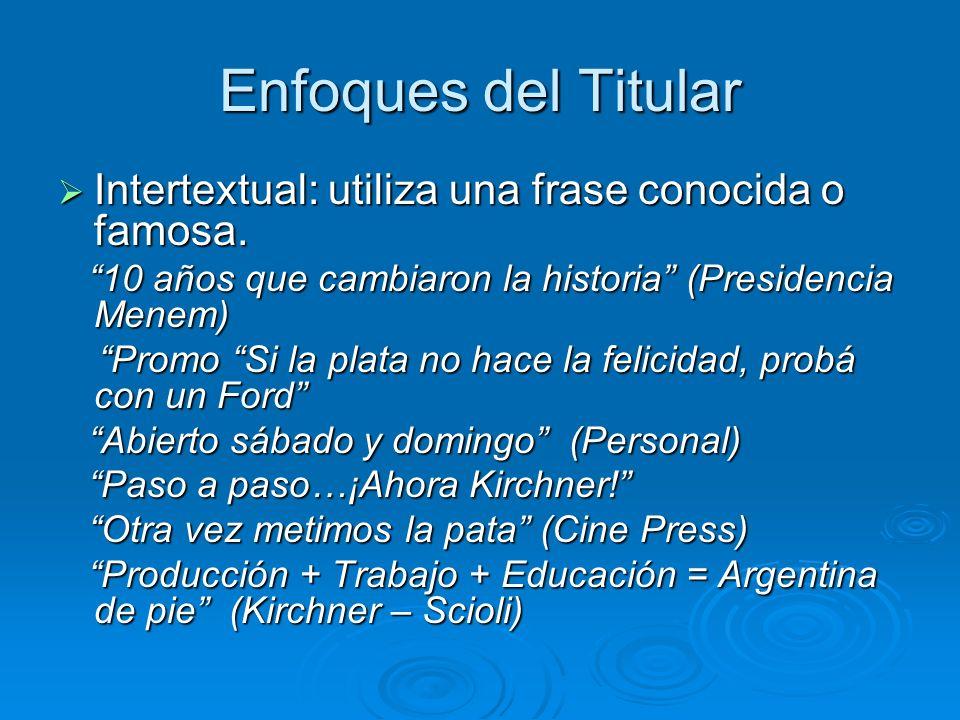 Enfoques del TitularIntertextual: utiliza una frase conocida o famosa. 10 años que cambiaron la historia (Presidencia Menem)