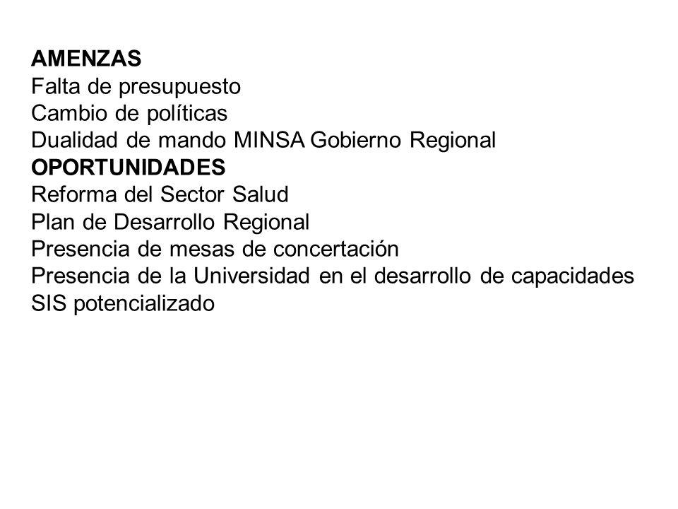 AMENZAS Falta de presupuesto. Cambio de políticas. Dualidad de mando MINSA Gobierno Regional. OPORTUNIDADES.