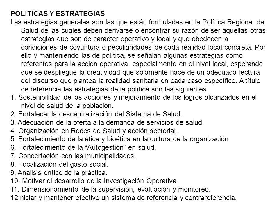 POLITICAS Y ESTRATEGIAS