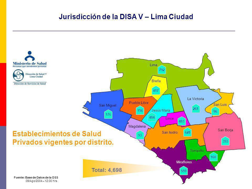 Jurisdicción de la DISA V – Lima Ciudad