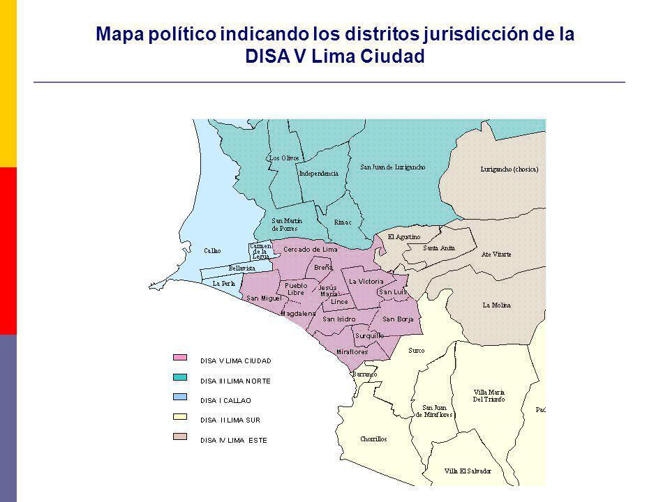 Mapa político indicando los distritos jurisdicción de la