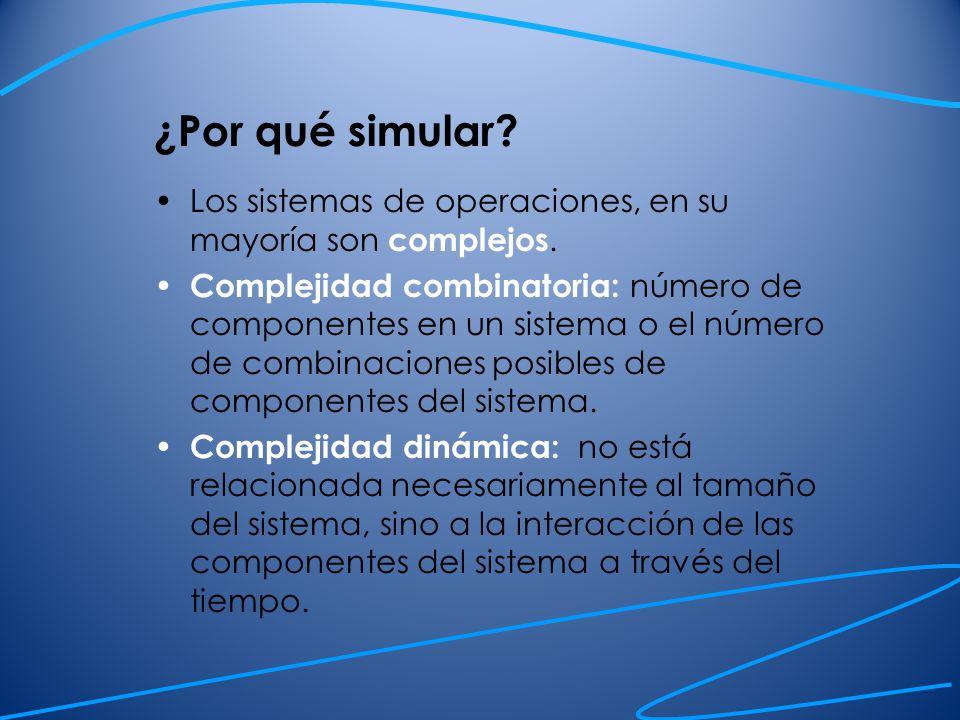 ¿Por qué simular Los sistemas de operaciones, en su mayoría son complejos.