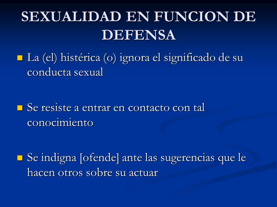 SEXUALIDAD EN FUNCION DE DEFENSA