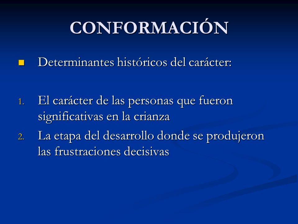 CONFORMACIÓN Determinantes históricos del carácter: