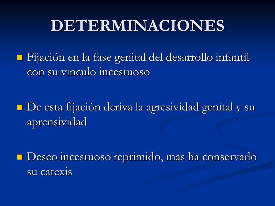 DETERMINACIONES Fijación en la fase genital del desarrollo infantil con su vinculo incestuoso.