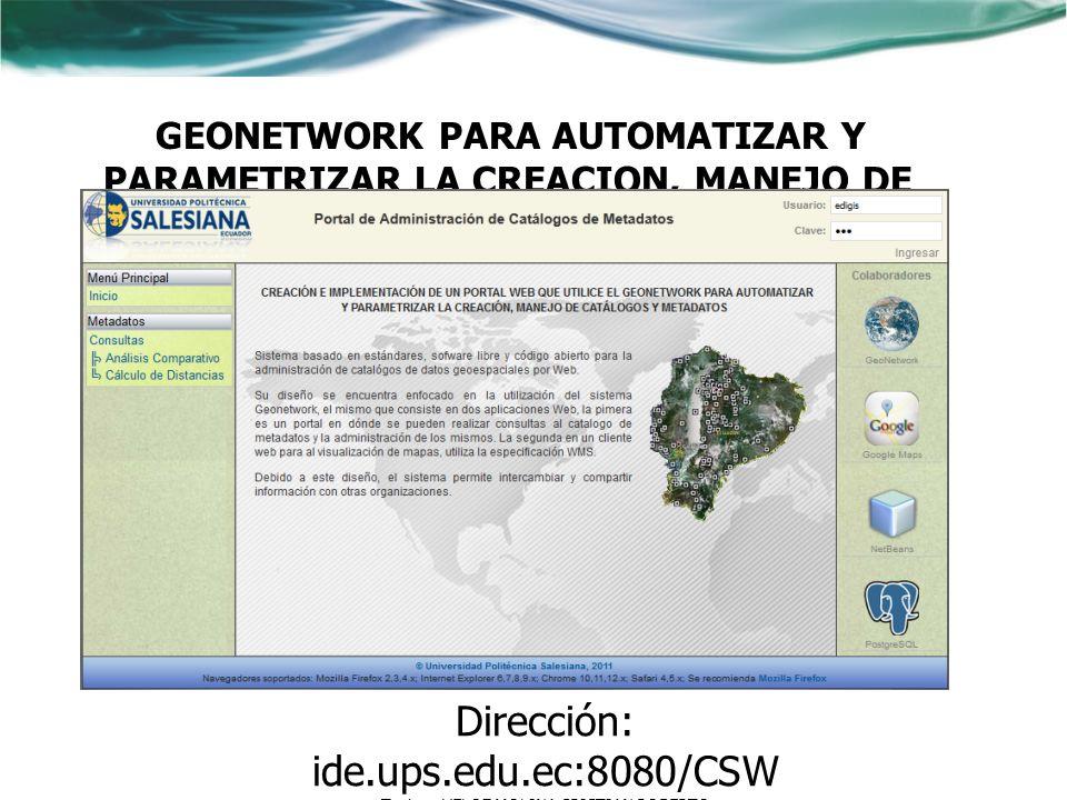 Dirección: ide.ups.edu.ec:8080/CSW