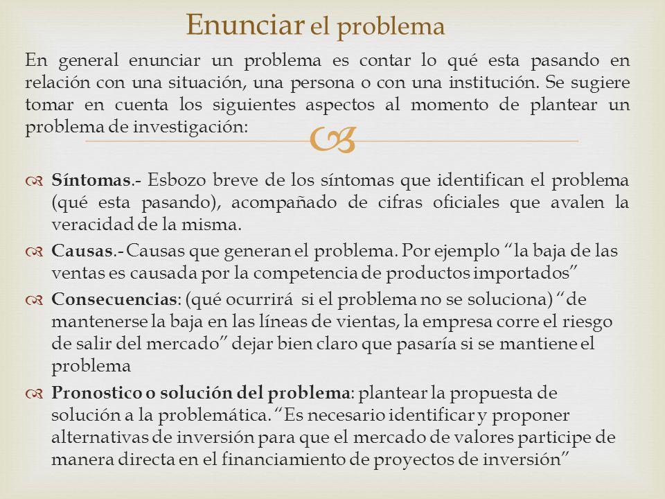 Enunciar el problema