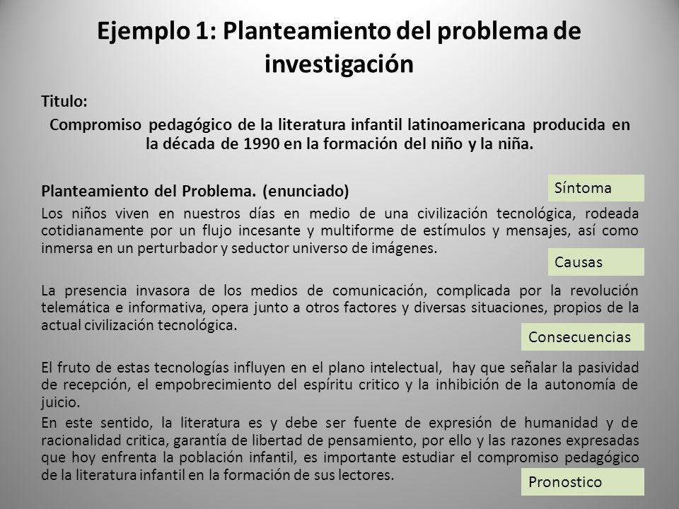 Ejemplo 1: Planteamiento del problema de investigación