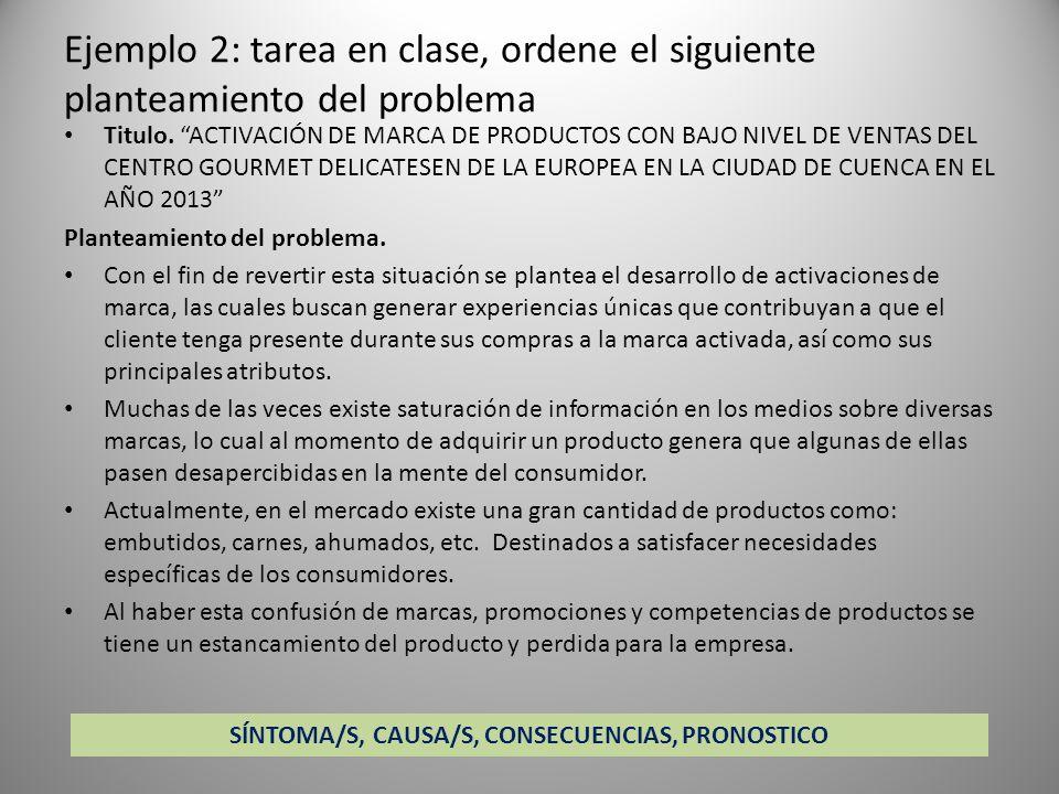 SÍNTOMA/S, CAUSA/S, CONSECUENCIAS, PRONOSTICO