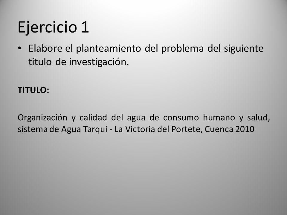 Ejercicio 1 Elabore el planteamiento del problema del siguiente titulo de investigación. TITULO: